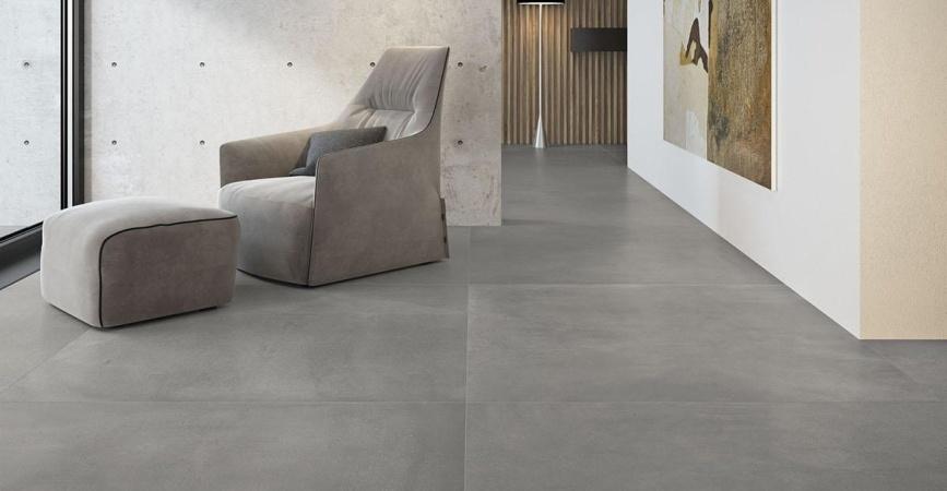 velkoformátová dlažba šedé barvy GRANDE CONCRETE