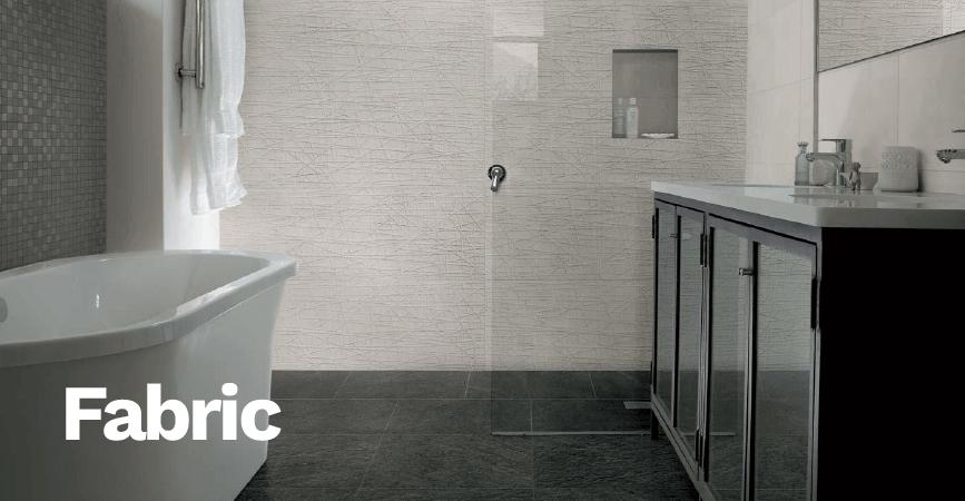Koupelnové obklady s dekorativním patchworkem ze série FABRIC