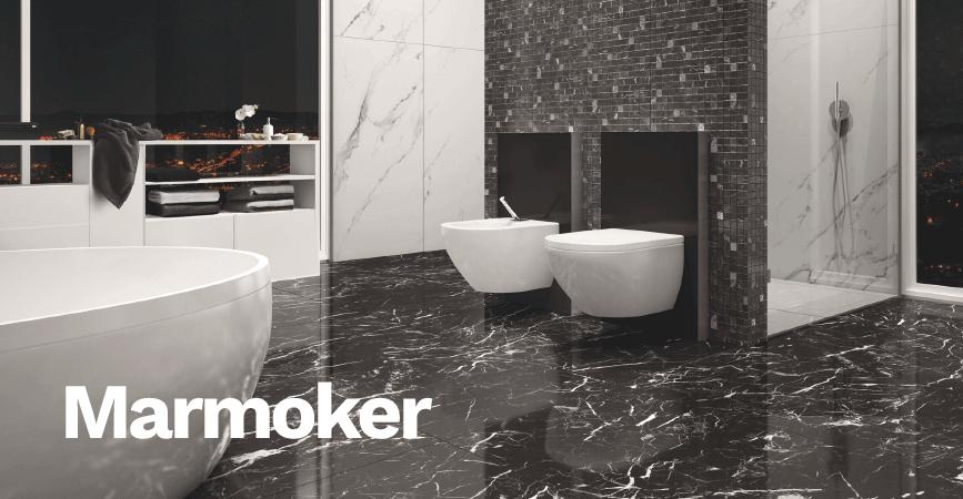 Tmavá koupelnová série v imitaci mramoru MARMOKER