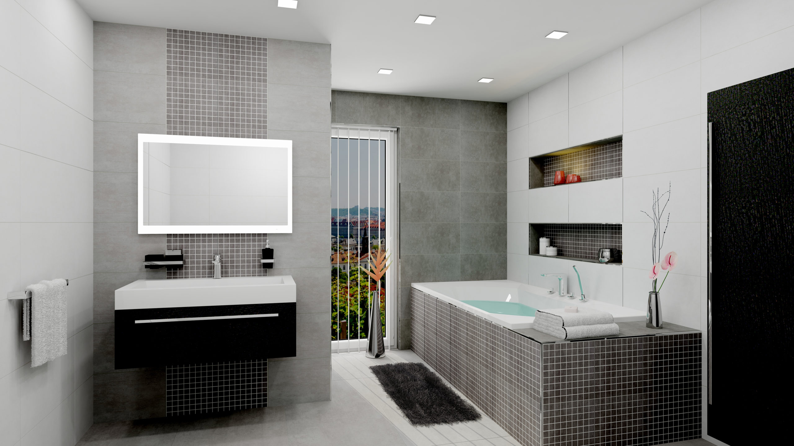 šedé obklady a dlažba do koupelny NORWICH