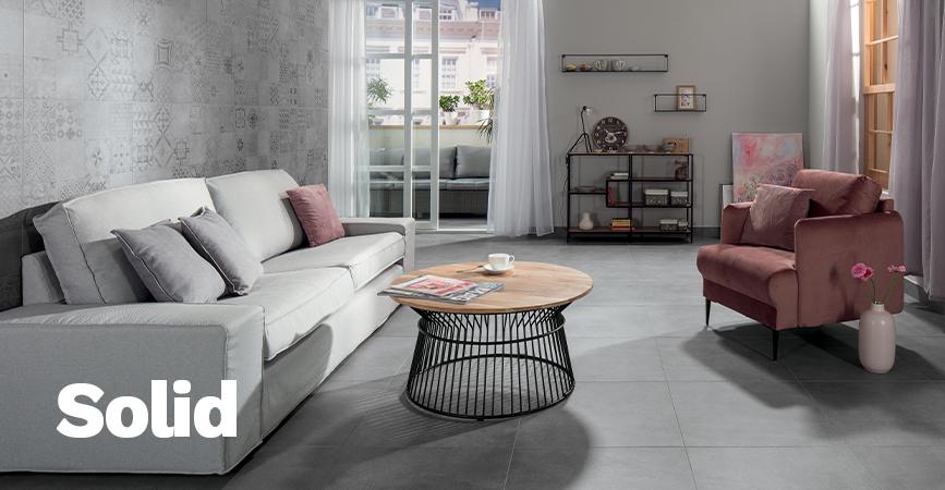 Dekorativní série obkladů a dlažby Solid v imitaci betonu